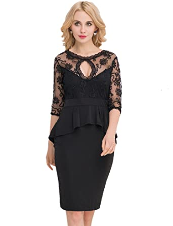 Ohyeah Womens Plus Size Lace And Mesh See Through 34 Sleeves