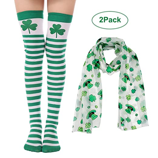 21d99aadc49 Amazon.com  Felizhouse St. Patrick s Day Stockings Scarf Costume Set for  Women Green White Shamrock Striped Long Over Knee Thigh High Socks Tighs   Clothing
