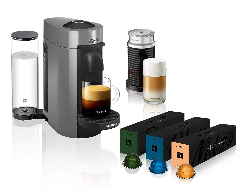 Nespresso VertuoPlus Coffee and Espresso Maker by De'Longhi with Aeroccino, Grey & Nespresso Vertuoline Best Seller Coffee Capsule Assortment, 10 Count (Pack of 3)