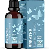 Breathe Blend Essential Oil for Diffuser - Breathe Essential Oil Blend with Eucalyptus Peppermint Tea Tree and Spearmint Mint