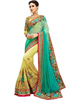 Fashion fiza Light Blue Net & Georgette EMBROIDERY Saree With Bloues Pic