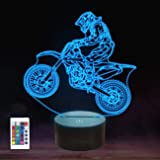 Dirt Bike 3D Night Light, FULLOSUN Motocross Illusion Hologram Bedside Lamp 16 Color Changing with Remote Control, LED Cool N