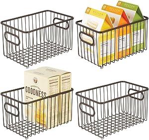 "mDesign Metal Farmhouse Kitchen Pantry Food Storage Organizer Basket Bin - Wire Grid Design - for Cabinets, Cupboards, Shelves, Countertops, Closets, Bedroom, Bathroom - 10"" Long, 4 Pack - Bronze"