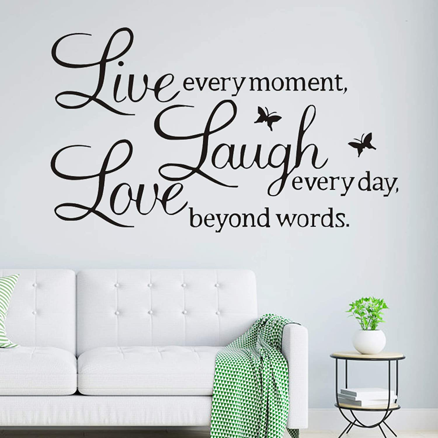 Love Every Moment Laugh Every Day Live Beyond Words Wall Decal Sticker Quotes, Removable Vinyl Butterfly Decor Art Words Mural, DIY Peel & Stick Wallpaper for Living Room Bedroom Decoration (Black)