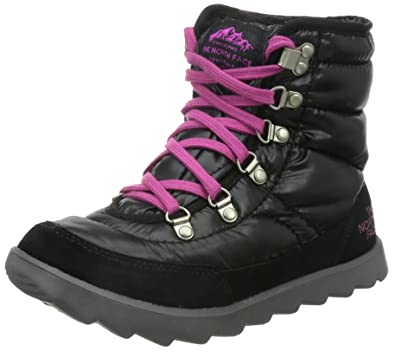 The North Face Thermoball Lace Boot Womens Shiny TNF Black/Luminous Pink 6