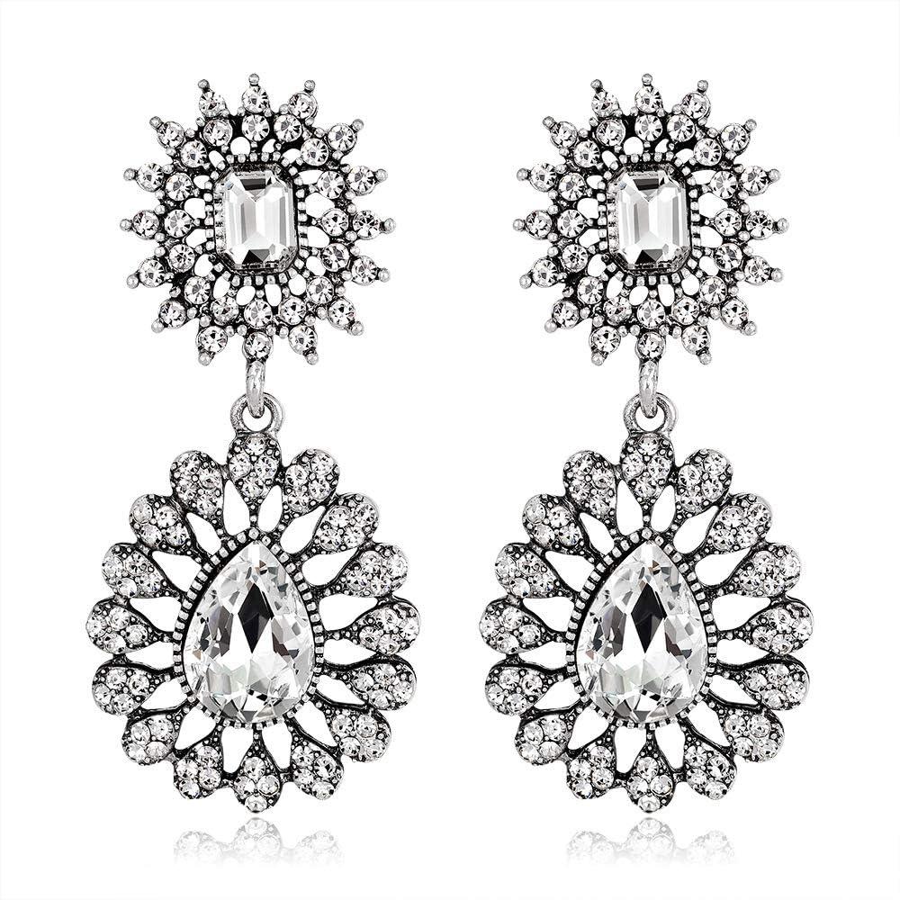 Aymsm Pendientes de Diamantes tallados Huecos Retro Populares de Europa y los Estados Unidos, bellamente diseñado, Dado a la Amada Plata Antigua