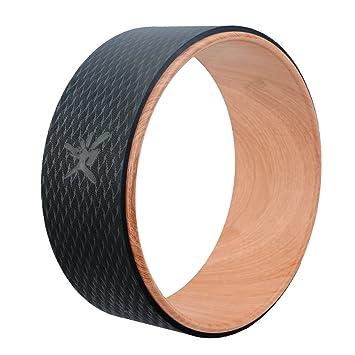 Rueda de Yoga IVIM-la rueda de Yoga más fuerte y cómoda para Dharma Yoga, accesorio para posturas de Yoga, rueda perfecta para estiramiento, aumenta la flexibilidad y mejora las flexiones hacia atrás, básica 33 x 12 cm, Madera