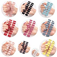 10Set Semi Cured Gel Nail Wraps, 10 Designs Available Adhesive Full Wrap Gel Nail Art Sticker, Stick On Gel Nails…