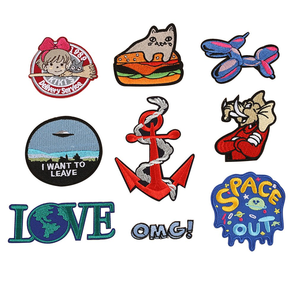Cool Patches Fabric Embroidered Patches Motif Applique Kit 9 Pc clothing Assorted Size Decoration Sew On Patches DIY Perfect Ironed on Jackets