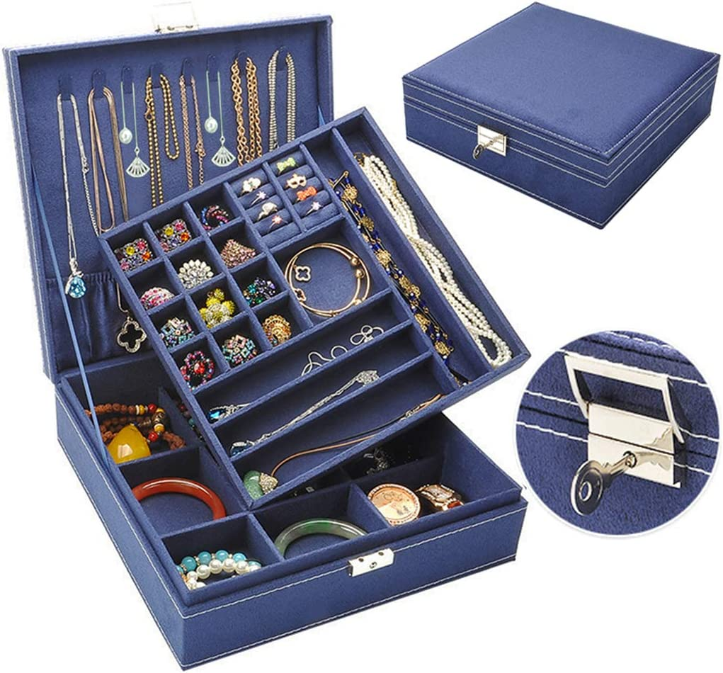 Jewelry Box for Women, QBeel Double Layer 36 Compartments Necklace Jewelry Organizer with Lock Jewelry Holder for Earrings Bracelets Rings - Deep Blue