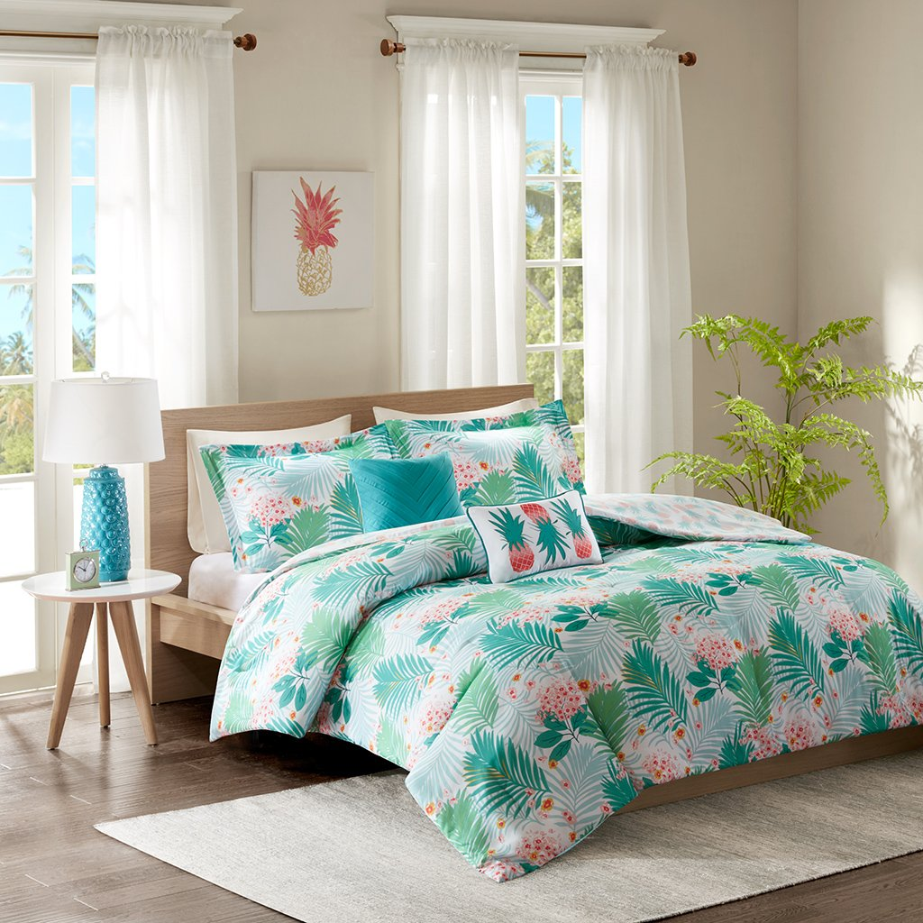 Intelligent Design Tropicana Comforter Set Twin/Twin XL Size - Aqua, Tropical Floral Pineapple Print – 4 Piece Bed Sets – Ultra Soft Microfiber Teen Bedding for Girls Bedroom
