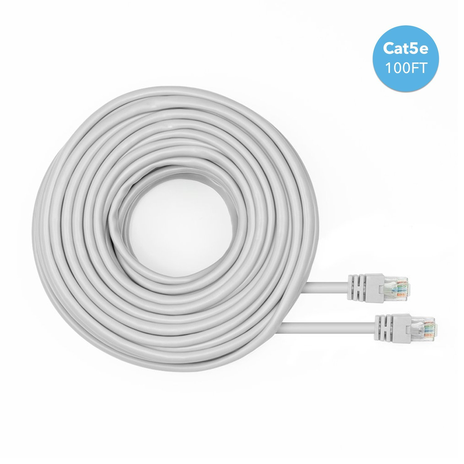 Amcrest Cat5e Cable 100ft Ethernet Cable Internet High Speed Network Cable for POE Security Cameras, Smart TV, PS4, Xbox One, Router, Laptop, Computer, Home (CAT5ECABLE100) by Amcrest