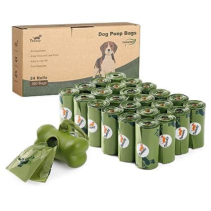 Toozey 360 Bolsas Caca Perro, Bolsas Biodegradables Perro con Dispensador, Antifugas y Sin Olor, Bolsas Excrementos Perros Gruesas y Grandes, Fáciles ...