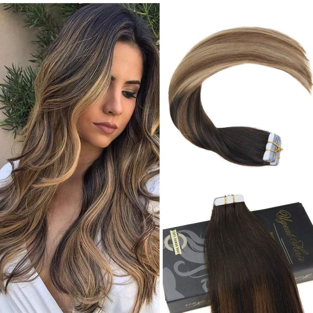 Amazon.com   20 inch Tape in Balayage Remy Hair Extensions  2 6 12 Color  Brown Mix Blonde Skin Weft Ombre Tape Hair Extensions 50g 20pcs   Beauty ca0311a3311f