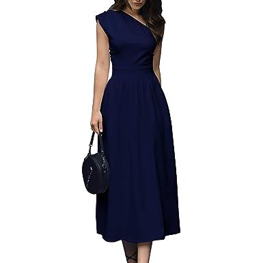 Amazon.com: Para mujer un hombro vestido elegante verano ...