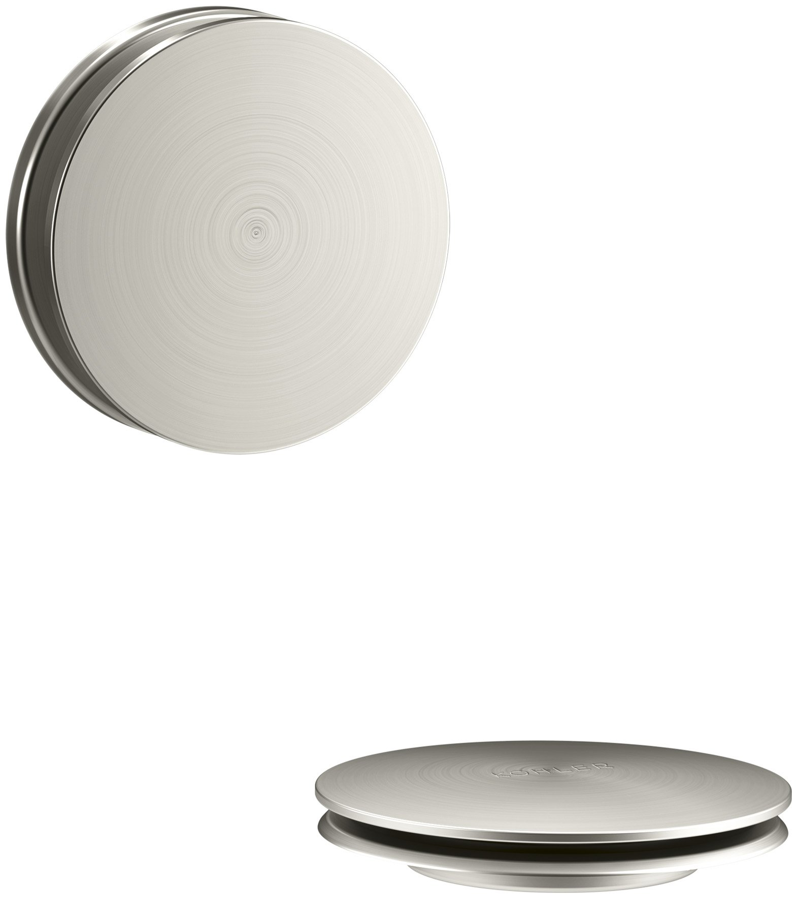 KOHLER K-T37395-BN PureFlo Cable Bath Drain Trim with Contemporary Push Button Handle, Vibrant Brushed Nickel