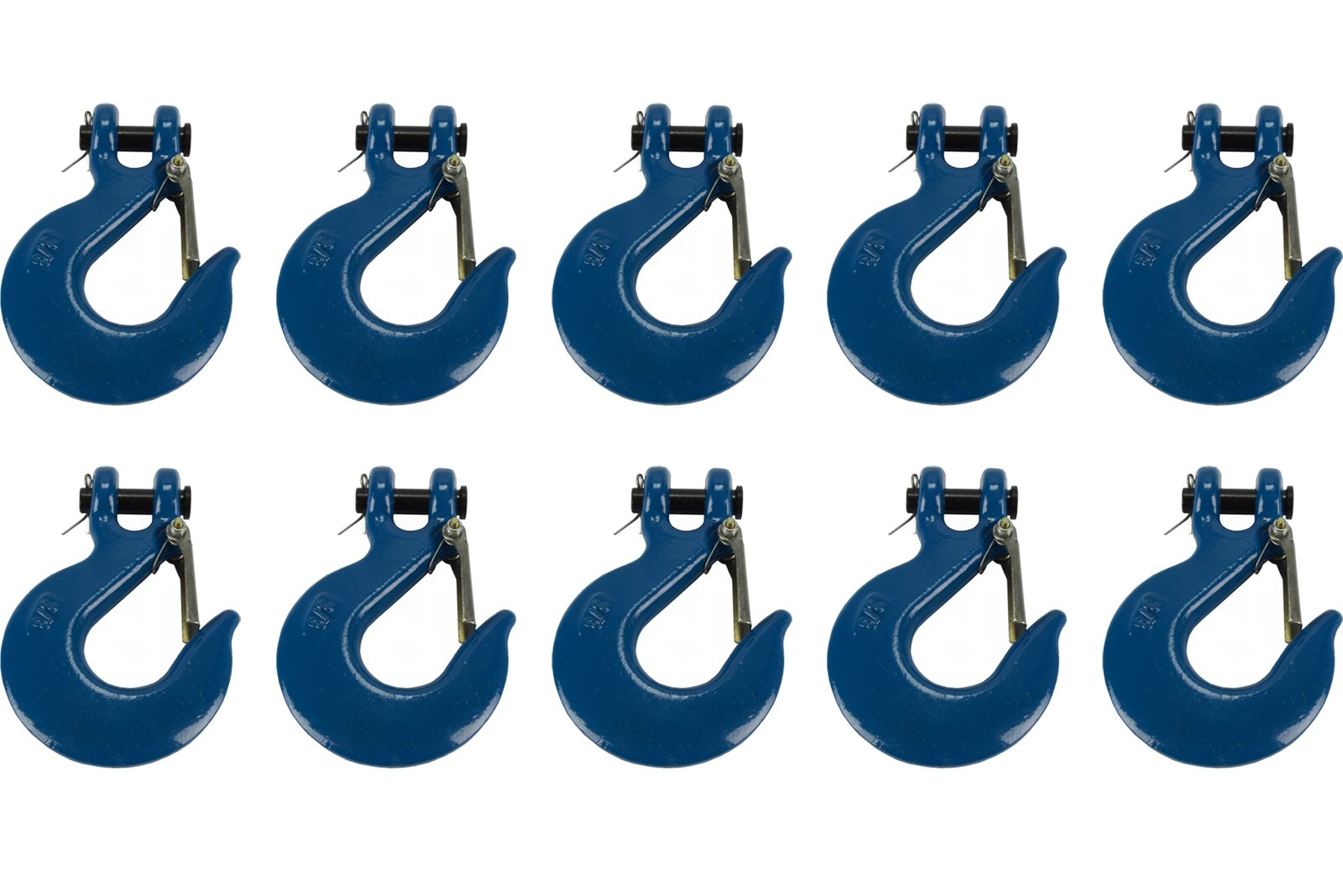 TEMCo 10 Lot 3/8'' Chain Slip Safety Latch Hook Clevis Rigging Tow Winch Trailer Grade 70