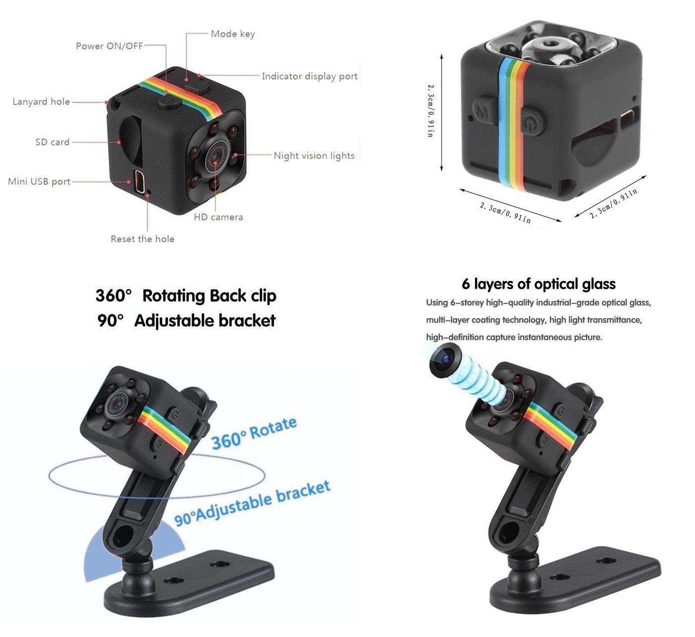 Deportes DV Mini HD 1080P cámara de visión nocturna Mini coche Dash Cam Drive Recorder oficina en casa y mini cámara de seguridad de conducción (negro rojo ...