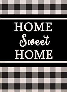 Covido Home Sweet Home Garden Flag, Buffalo Plaid Check Home Decorative House Yard Decor, Summer Fall Seasonal Outdoor Small Flag Farmhouse Autumn Winter Outside Decorations Double Sided 12 x 18