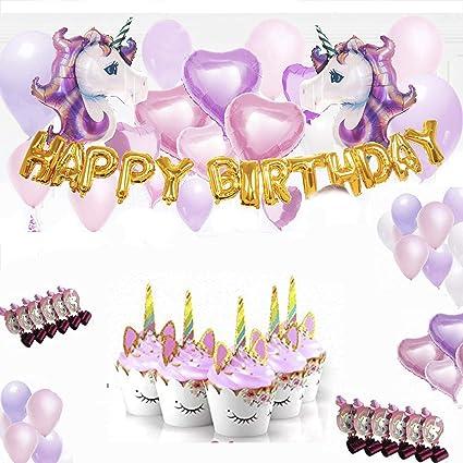 Amazon.com: Unicorn Party Supplies – Globo de unicornio con ...