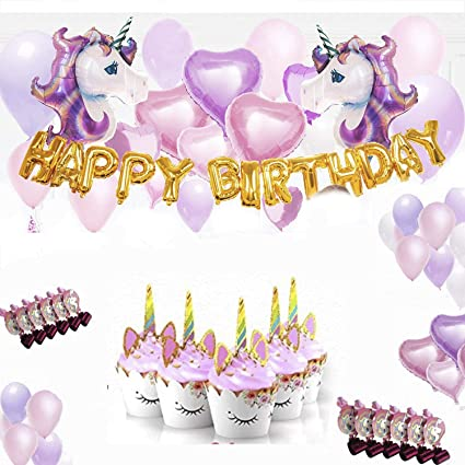 Amazon.com: Unicorn Party Supplies – Globo de unicornio con ...