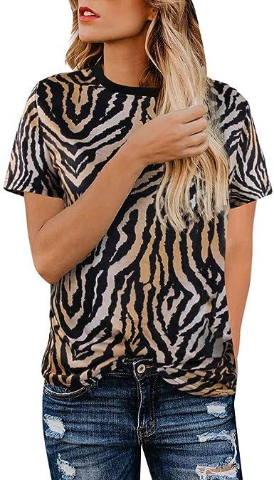 Camisetas para el Verano Mujer Blusa de Manga Corta con ...