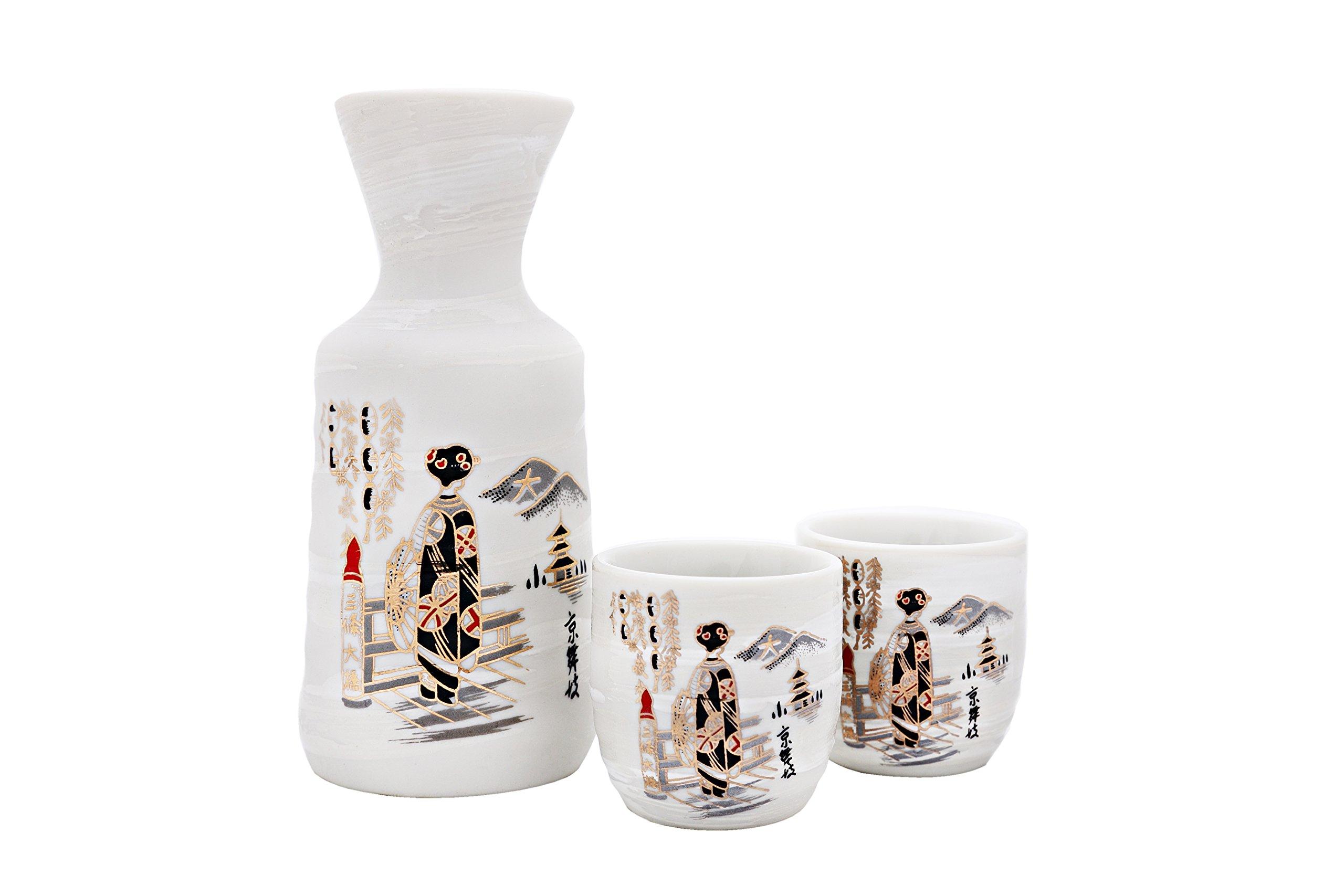 JAPANESE SAKE SETS BOTTLE and 2PCS SAKE CUPS (Maiko Girl)
