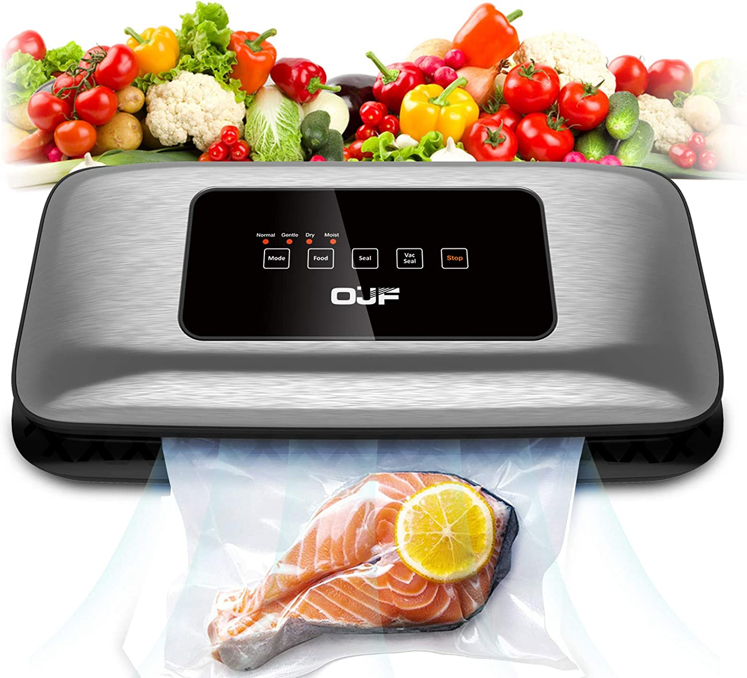 OJF Vacuum Sealer Machine, Compact Automatic Food Sealer for Food Savers, Normal Gentle Dry Moist Food Modes, Easy to Clean, Led Indicator Light, Starter Kit Included, Black