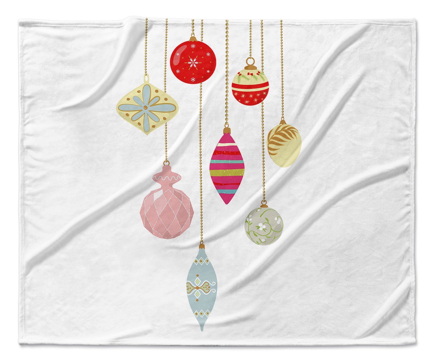 TELAVC1031SUB9 - TRADITIONS Collection KAVKA Designs Christmas Fleece Blanket, Size: 90x90x1 - Red//Gold//Pink//Blue