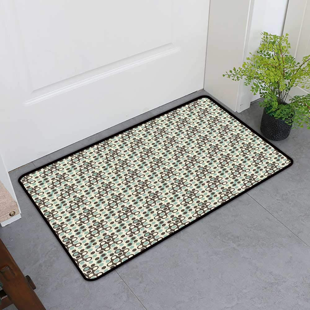 TableCovers&Home Dog-Cat Mat, Geometric Indoor Doormats for Bedroom, Grungy Display Circular Spots Vintage Design Modern Art Elements (Dark Brown Ivory Almond, H32 x W48)