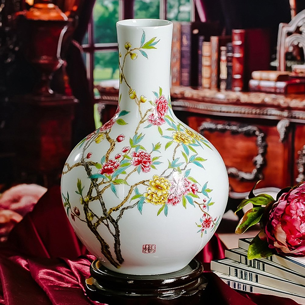 XIAOYAN アンティーク伝統的なレトロ景徳鎮セラミック花瓶豊かな花オープンホームデコレーションベースアートワークなしの大規模な花瓶すべての部屋の装飾的なディスプレイギフトリビングルームベッドルームコーナーキャビネット本棚 B07DN488WM