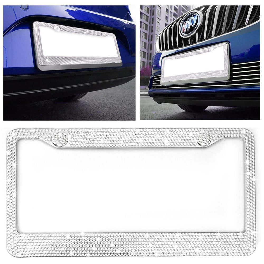 Standard License Plate /× 2 Pack Qimei Luxury License Plate Frame Kit Stainless Metal Chrome Bling Rhinestones Full Coverage Sparkly Diamonds Fit for U.S