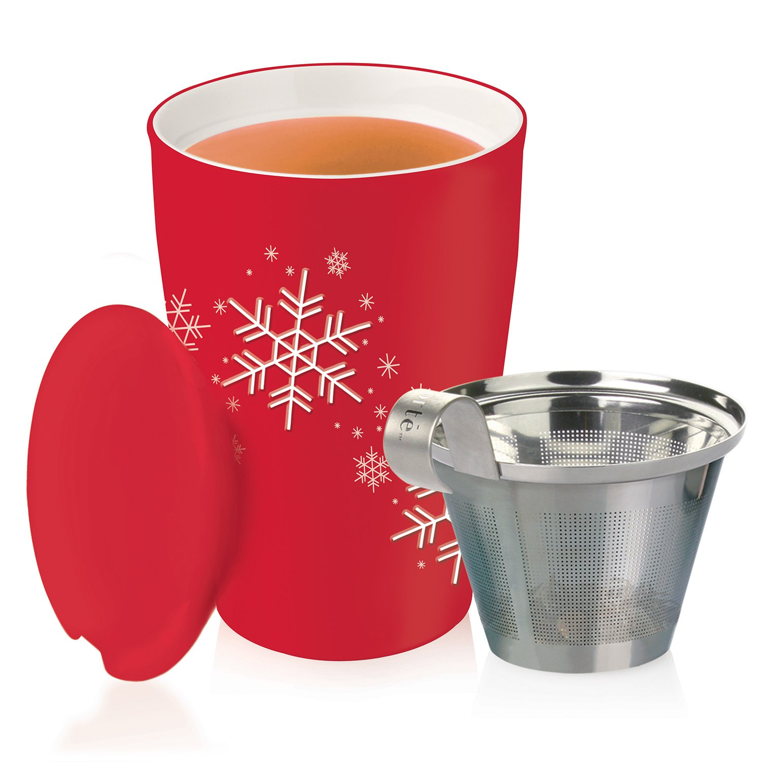Tea Forté KATI Cup Ceramic Tea Brewing Cup with Infuser Basket and Lid for Steeping, Loose Leaf Tea Maker, Red Snowflake by Tea Forte (Image #6)