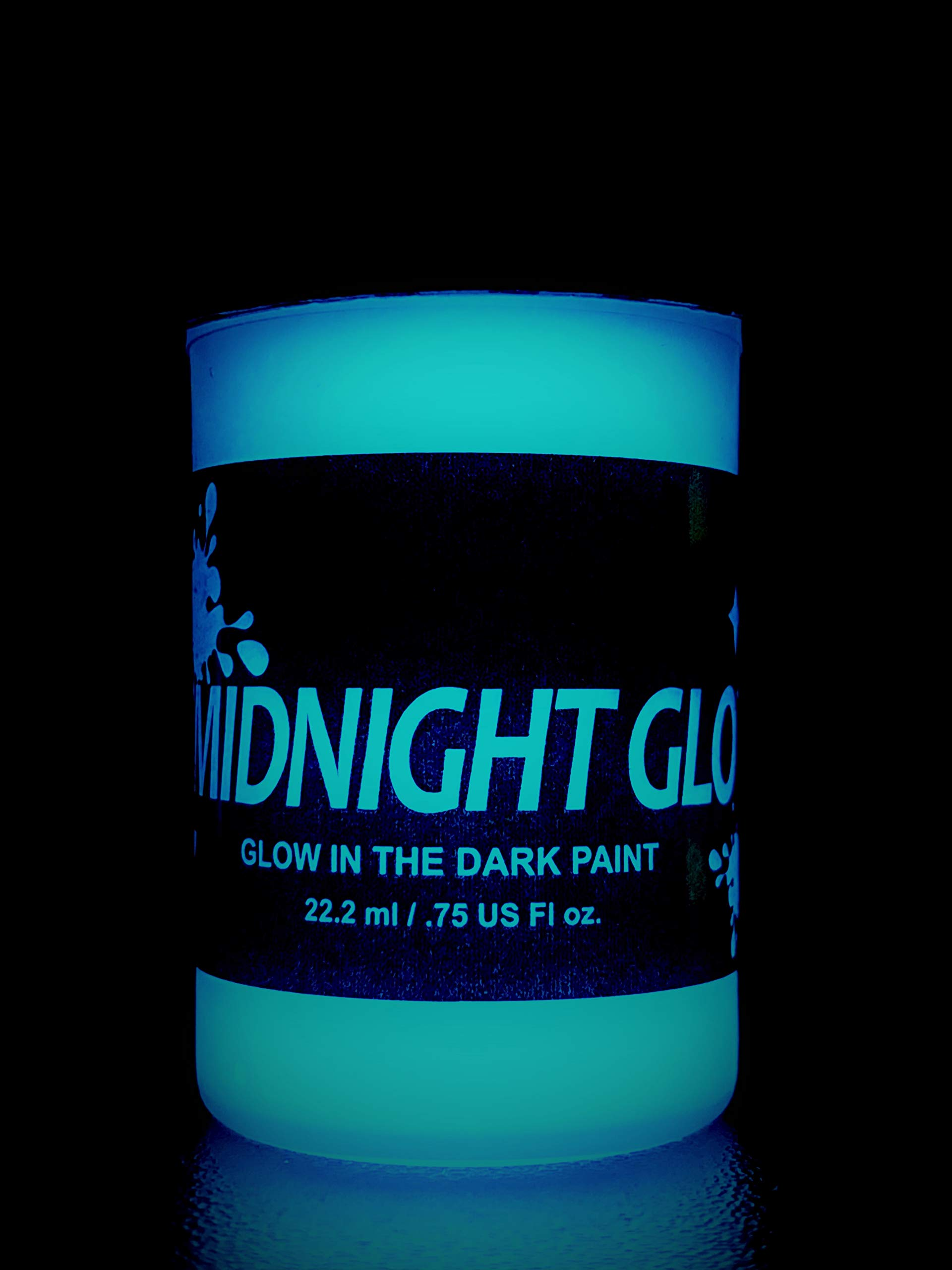 Glow in The Dark Paint, Aqua 0.75 fl oz, Made in USA, Extremely Bright by Midnight Glo