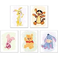 Winnie The Pooh Watercolour Art Nursery Prints (Set of 5 Photos - 8 inches x 10 inches) Piglet Tigger Eeyore Rabbit…