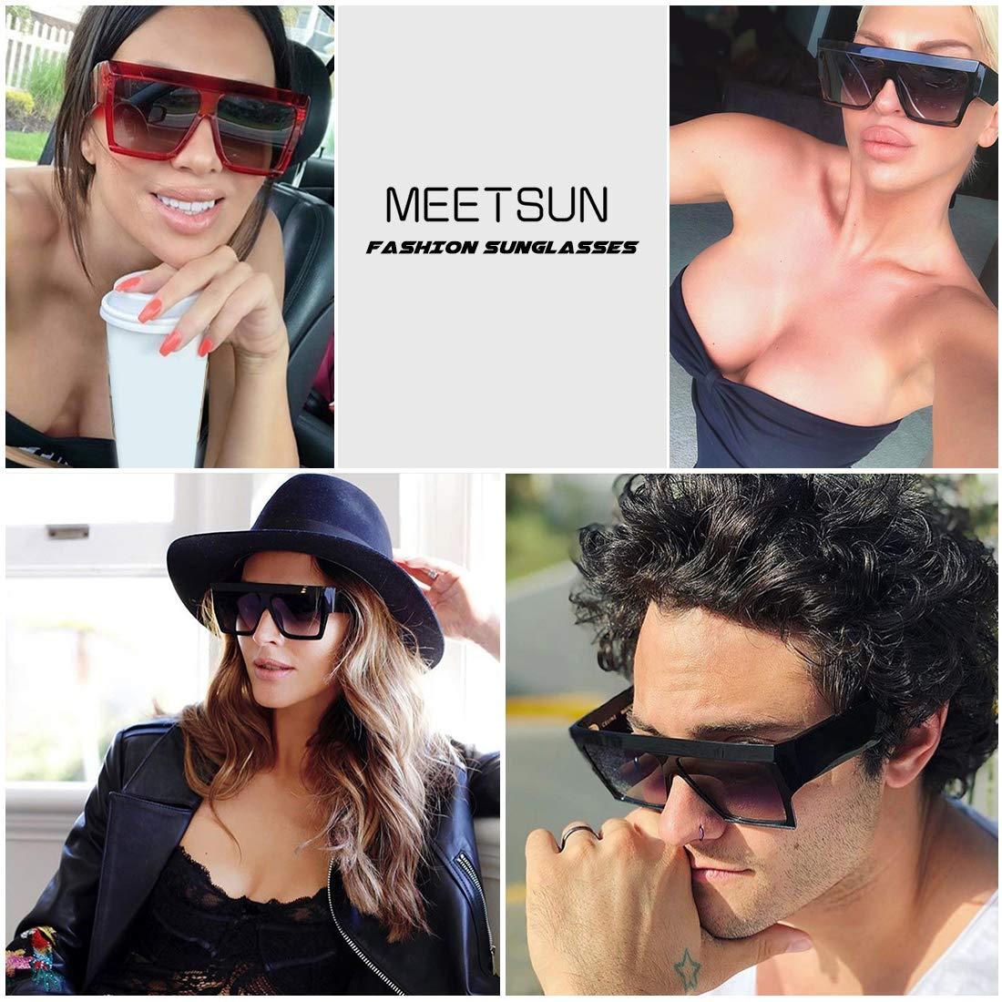 44ca586620e Amazon.com  MEETSUN Oversized Flat Top Sunglasses for Women Men Square  Designer Fashion Shades Black Frame + Grey Gradient Lens  Clothing