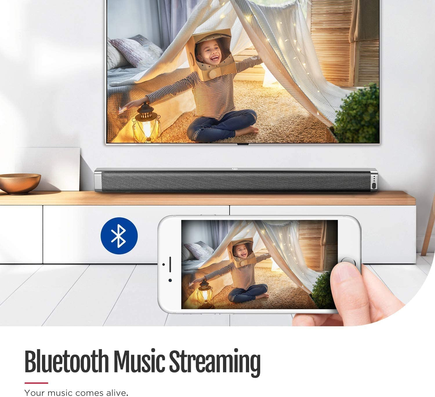 Remote Control BOMAKER TV Sound Bar with Subwoofer,Wireless Bluetooth Soundbar RCA Cable Included Optical