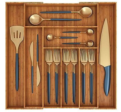 Miko 100% bambú extensible organizador de cajones de cocina – multiusos – Bandeja de cajón