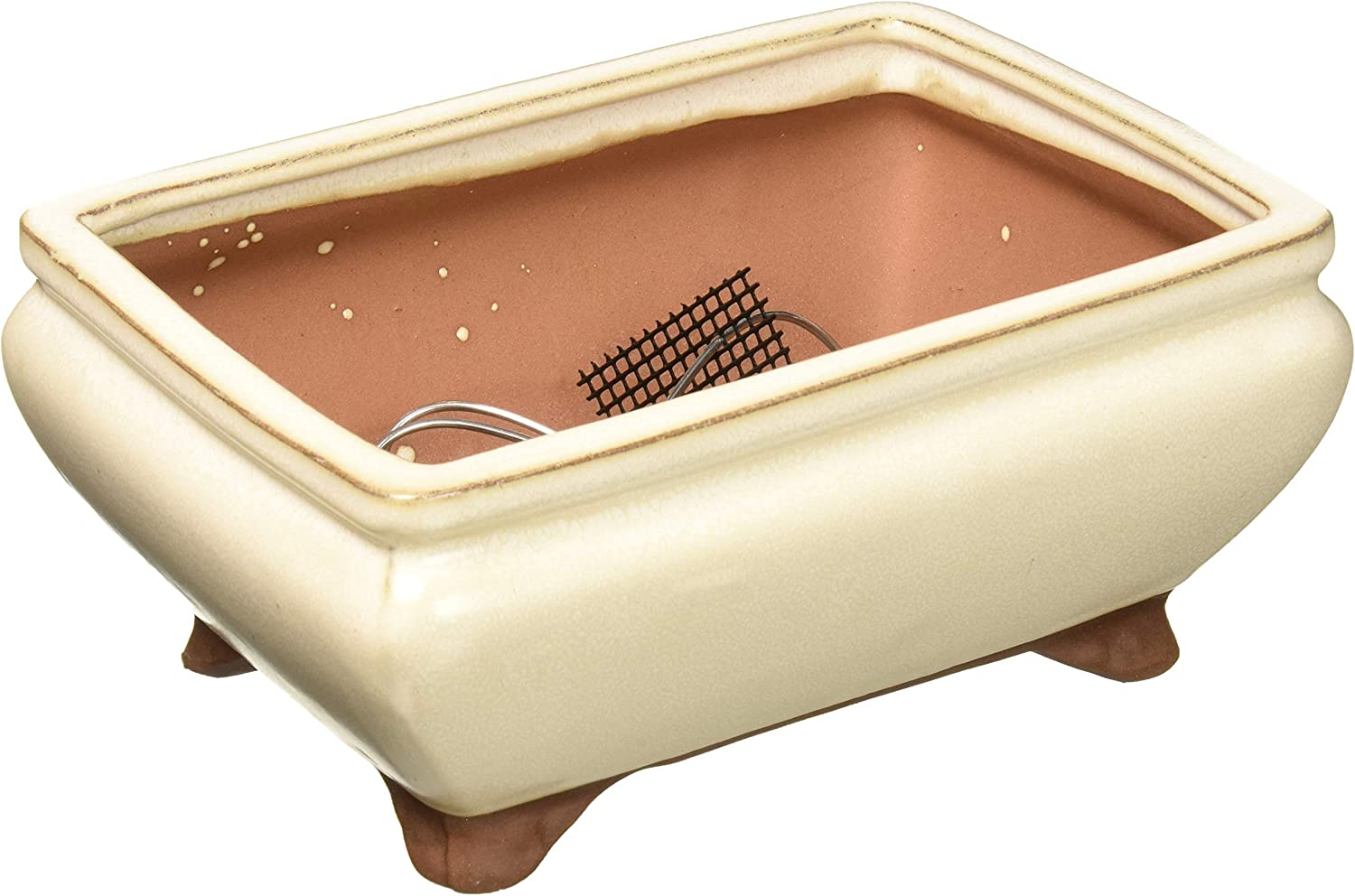 Amazon Com Brussel S 5 Rectangle Bonsai Glazed Ceramic Pot Small Beige Garden Outdoor