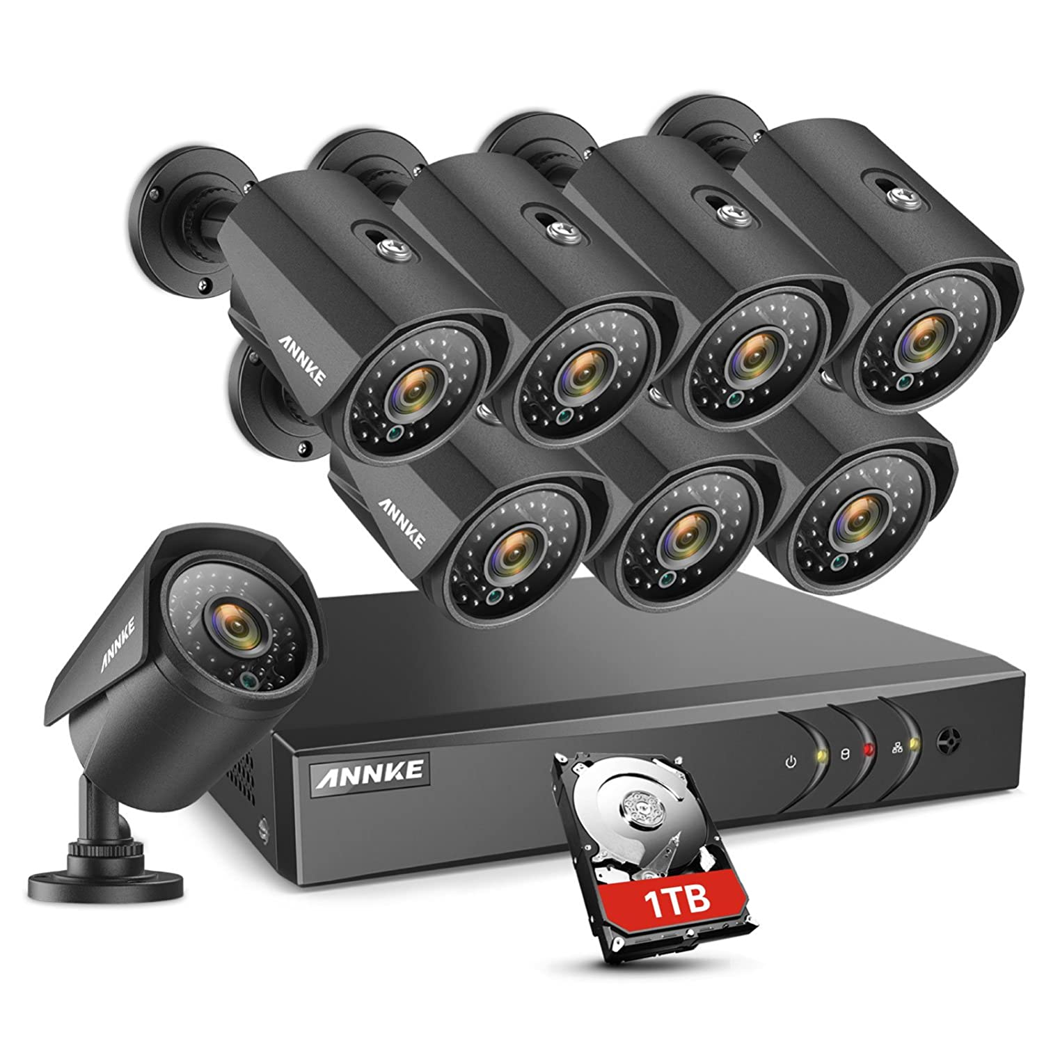 ANNKE 8CH Security CCTV Surveillance System 1080P Lite DVR 1TB HDD (8) Weatherproof Camera 100ft Night Vision, Enable H.264+ to Record Longer