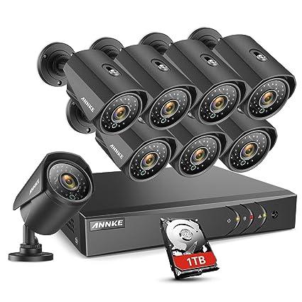 ANNKE Kit Sistema de Seguridad 16CH 1080P Lite DVR y 8 Cámaras 960P de vigilancia Metal