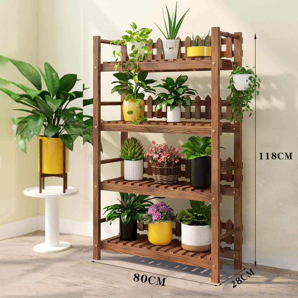 4-Tier,Plant Stand Wood Indoor,carbonized Plant Shelf with Hollow-Out Rack,Stable Plant Display Rack Shoe Organizer Easy Assembly P 80x28x118cm(31x11x46inch)