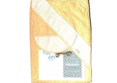 Capa de Baño y Babero de Punto De cruz en Color Melocotón y con hilos(