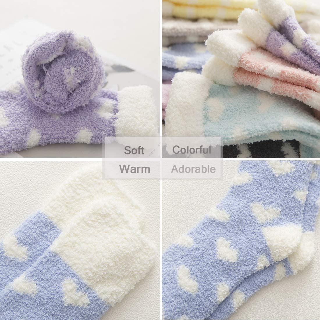 6 Pairs Ladies Women Soft Cozy Fulffy Bed Socks Sleeping Warm Girls Size 4-8 UK