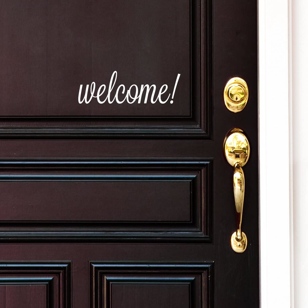White Welcome Front Door Vinyl Decal Cursive Handwriting Wall Art Décor Sticker Lettering Removable