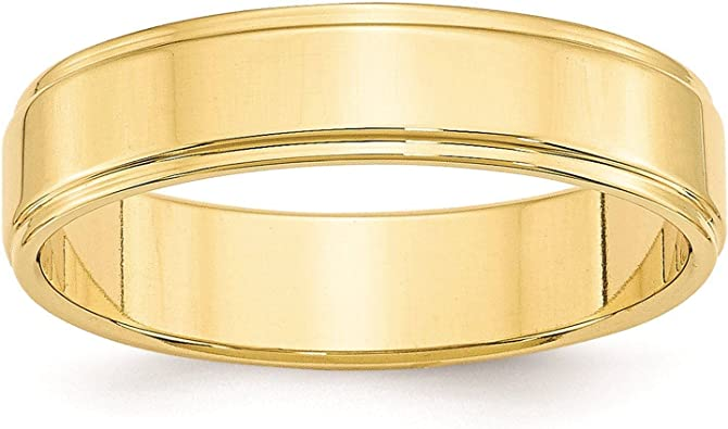 10k Yellow Gold 5mm Flat Band Ring Fine Jewelry Ideal Gifts For Women