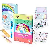Paochocky 14 PCS Juego de papelería Bonita de Unicornio,Cuaderno de Diario con Cerradura Regalos de cumpleaños Navidad…