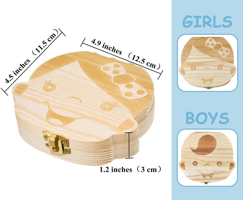 pinzas gratis ni/ños dientes de leche//cord/ón umbilical//lanugo organizador para ni/ños ni/ñas caja de madera Organizador guardar los dientes de beb/é caja de recuerdos para beb/é