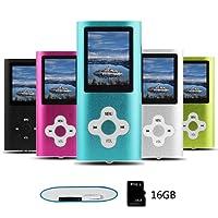 Btopllc Lettore MP3 , Lettore MP4, Lettore musicale Scheda di memoria interna da 16 GB, Lettore musicale portatile e Compact MP3 / MP4, Lettore multimediale, Lettore video, Video, Lettore eBook, Lettore musicale di immagini - Verde (16G-Blue001)