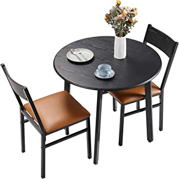 Amazon Com Homury 3 Piece Round Dining Table Set With Cushioned Chairs Modern Counter Height Dinette Set Small Kitchen Table Set With 1 Table And 2 Chairs For Dining Room Small Spaces